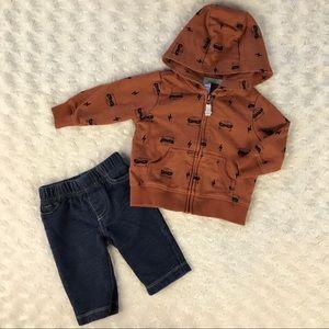 Carter's Hooded Jacket & Jeans Set Raccoon 3M